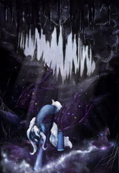 Size: 2408x3494 | Tagged: alicorn, artist:miradge, artist:noel, bat pony, cave, crepuscular rays, crying, female, hat, mare, pony, race swap, safe, solo, trixie, unicorn