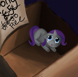 Size: 4951x4929 | Tagged: safe, artist:eumy, rarity, pony, unicorn, absurd resolution, box, bronybait, cardboard box, crying, female, filly, filly rarity, foal, pony in a box, sad, solo, younger
