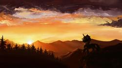 Size: 1920x1080 | Tagged: dead source, safe, artist:fiarel, applejack, earth pony, pony, backlighting, female, mare, mountain, mountain range, scenery, solo, sunset, wallpaper
