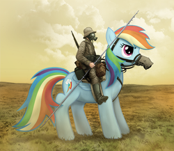 Size: 2556x2220 | Tagged: safe, artist:stinkehund, rainbow dash, human, pegasus, pony, bridle, clothes, duo, female, gas mask, gun, high res, humans riding ponies, mare, reins, riding, rifle, saddle, soldier, tack, uniform, weapon, world war i