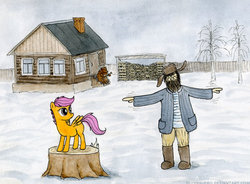 Size: 640x472 | Tagged: artist:el-yeguero, balalaika, bear, beard, flying lesson, hat, human, safe, scootaloo, scootaloo can't fly, ushanka