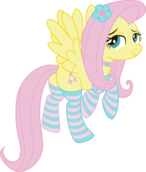 Size: 3027x3568 | Tagged: artist:leopurofriki, clothes, female, flower, flower in hair, flutterbutt, fluttershy, high res, looking back, mare, pegasus, plot, pony, safe, simple background, socks, solo, striped socks, transparent background
