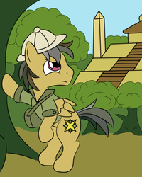 Size: 1600x2000 | Tagged: artist:wolferahm, bipedal, clothes, daring do, dashing do, fortress of talacon, hat, jungle, male, pegasus, pony, rule 63, safe, solo, stallion, tree