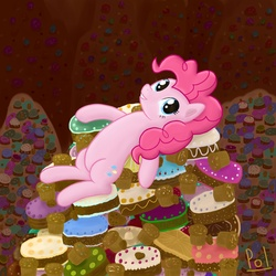 Size: 2000x2000 | Tagged: artist:polkin, cake, cupcake, dead source, dessert, earth pony, female, high res, mare, on back, pile, pinkie pie, pony, safe, solo, sweets