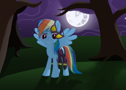 Size: 3500x2500 | Tagged: artist:morevespenegas, clothes, costume, female, high res, mare, mare in the moon, moon, night, pegasus, pony, rainbow dash, safe, shadowbolt dash, shadowbolts, shadowbolts costume, spread wings, tree, wings