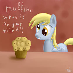 Size: 2000x2000 | Tagged: artist:polkin, derpy hooves, female, high res, mare, muffin, pegasus, pony, safe, solo