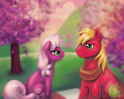 Size: 1000x800 | Tagged: artist:laurenmagpie, big macintosh, cheerilee, cheerimac, dead source, earth pony, eye contact, female, heart, hearts and hooves day (episode), looking at each other, love, male, mare, pony, safe, shipping, sitting, stallion, straight, tree