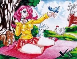 Size: 700x536 | Tagged: artist:jadenkaiba, bird, breasts, busty fluttershy, chicken, clothes, deer, female, fluttershy, human, humanized, rabbit, safe, sitting, skirt, solo, squirrel, sweater, sweatershy