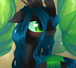 Size: 660x595 | Tagged: artist:loyaldis, blushing, changeling, changeling queen, female, floppy ears, looking back, profile, queen chrysalis, safe, solo