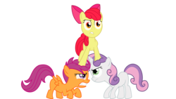 Size: 1955x1100 | Tagged: angry, apple bloom, artist:nikolaz15, cutie mark crusaders, earth pony, equine pyramid, female, filly, pegasus, pony, safe, scootaloo, simple background, standing on head, sweetie belle, the return of harmony, transparent background, unicorn, vector