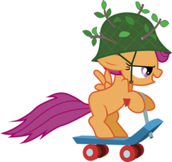 Size: 6000x5639 | Tagged: absurd res, artist:lightningtumble, camo helmet, female, filly, pegasus, pony, profile, safe, scootaloo, scooter, simple background, solo, transparent background, vector