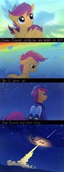 Size: 389x1050 | Tagged: dead source, safe, artist:tomatocoup, scootaloo, pegasus, pony, artifact, cloud, comic, feather, feels, female, filly, helmet, implied rainbow dash, inspiration, jetpack, mare, scootaloo can fly, scootaloo can't fly, solo, space, spacesuit, stars, text, uplifting