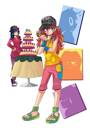 Size: 800x1132 | Tagged: safe, artist:gomigomipomi, pinkie pie, twilight sparkle, human, mmmystery on the friendship express, bowler hat, cake, converse, deerstalker, female, food, hat, humanized, marzipan mascarpone meringue madness, sandals, shoes