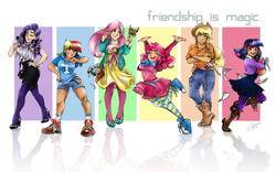 Size: 1726x1075 | Tagged: safe, artist:ddhew, applejack, fluttershy, pinkie pie, rainbow dash, rarity, twilight sparkle, bird, human, applejack's hat, bandaid, belt, boots, clothes, converse, cowboy boots, cowboy hat, denim, female, hat, high heels, humanized, line-up, mane six, mary janes, overalls, pantyhose, shoes, shorts, skirt, sneakers, socks, tube skirt