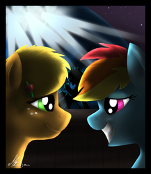 Size: 1300x1500 | Tagged: safe, artist:gonedreamer, applejack, rainbow dash, earth pony, pegasus, pony, appledash, backlighting, eye contact, female, lesbian, looking at each other, mare, shipping