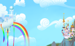 Size: 1600x1000 | Tagged: safe, artist:javkiller, canterlot, cloudsdale, no pony, wallpaper