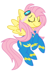 Size: 900x1417   Tagged: safe, artist:redridinghoof, fluttershy, pegasus, pony, alternate hairstyle, crossed hooves, eyes closed, female, flying, goggles, mare, simple background, smiling, solo, transparent background, wonderbolts uniform, wondershy