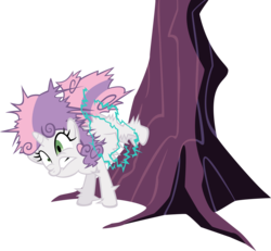 Size: 6778x6254 | Tagged: absurd res, applebucking, artist:chezne, bucking, female, filly, pony, safe, simple background, solo, sweetie belle, transparent background, tree, unicorn, vector, zap apple tree, zapped
