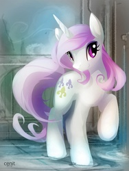 Size: 825x1100 | Tagged: artist:cenit-v, female, fleur-de-lis, looking at you, mare, pony, raised hoof, safe, smiling, solo, unicorn