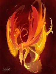 Size: 825x1100 | Tagged: safe, artist:cenit-v, philomena, phoenix, female, pet, solo