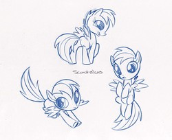 Size: 2765x2260 | Tagged: safe, artist:caakes, scootaloo, pegasus, pony, official, butt, concept art, cute, female, filly, high res, monochrome, official art, plot, solo