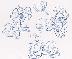 Size: 900x732 | Tagged: safe, artist:caakes, pinkie pie, earth pony, pony, official, balloon, cake, concept art, female, food, hat, mare, monochrome, mouth hold, official art, party hat, sleeping, solo