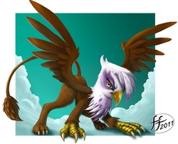 Size: 1276x1034 | Tagged: artifact, artist:14-bis, cloud, cloudy, featured image, female, fluffy, gilda, glare, griffon, looking at you, safe, smirk, solo, spread wings