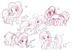 Size: 900x655 | Tagged: safe, artist:caakes, pinkie pie (g3), rainbow dash (g3), earth pony, pony, g3, official, concept art, female, headband, mare, monochrome, official art, redscale, simple background, solo, tail wrap, unnamed pony, what could have been, white background