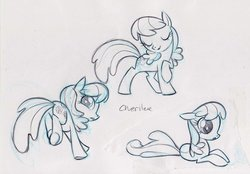 Size: 900x626 | Tagged: safe, artist:caakes, cheerilee, earth pony, pony, official, concept art, female, mare, monochrome, sketch, solo, traditional art