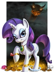 Size: 1074x1417 | Tagged: safe, artist:14-bis, basil, rarity, dragon, pony, unicorn, dragonshy, artifact, beautiful, coin, emerald, engrish in the description, featured image, female, gem, gold, greedity, hoard, jewel, jewelry, looking at you, mare, necklace, pearl (object), raised hoof, ring, ruby, scene interpretation, sin of greed, smiling, smoke, sparkles
