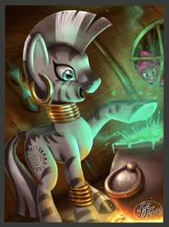 Size: 1157x1553 | Tagged: safe, artist:14-bis, pinkie pie, zecora, earth pony, pony, zebra, bridle gossip, :o, artifact, bubble, cauldron, evil enchantress, female, fire, frown, mare, open mouth, raised hoof, scene interpretation, smiling, underhoof, wide eyes, window, zecora's hut