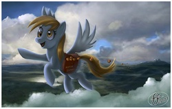 Size: 992x625 | Tagged: safe, artist:14-bis, derpy hooves, pegasus, pony, artifact, cloud, cloudy, female, flying, mailbag, mare, muffin, saddle bag, scenery, solo