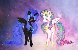 Size: 1100x703 | Tagged: safe, artist:cosmicunicorn, nightmare moon, princess celestia, alicorn, pony, abstract background, alternate hairstyle, blushing, curly hair, duo, eyes closed, female, mare