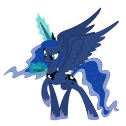 Size: 5000x4972 | Tagged: 3ds, absurd res, alicorn, artist:zelc-face, female, gamer luna, mare, pony, princess luna, raised hoof, safe, simple background, solo