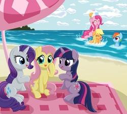 Size: 2000x1800 | Tagged: safe, artist:kaizenwerx, applejack, fluttershy, pinkie pie, rainbow dash, rarity, twilight sparkle, earth pony, pegasus, pony, unicorn, beach, beach ball, beach umbrella, cloud, cute, diapinkes, female, mane six, mare, sitting, unicorn twilight, water, wet mane