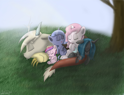 Size: 2700x2084 | Tagged: safe, artist:silbersternenlicht, discord, princess cadance, princess celestia, princess luna, queen chrysalis, alicorn, draconequus, nymph, pony, cewestia, cute, cutealis, cutedance, cutelestia, discute, female, filly, foal, high res, lunabetes, pink-mane celestia, sleeping, woona, young, younger