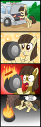 Size: 656x2000 | Tagged: safe, artist:madmax, wild fire, pegasus, pony, car, comic, crying, female, fire, flat tire, frown, help me, lol, mare, sad, shocked, sibsy, smiling, sweat, tire, weird, wheel, wide eyes