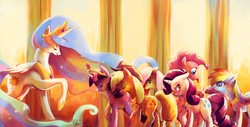 Size: 4920x2500 | Tagged: alicorn, annoyed, applejack, artist:cuteskitty, big crown thingy, bowing, color porn, earth pony, element of generosity, element of honesty, element of loyalty, element of magic, elements of harmony, ethereal mane, eyes closed, eyestrain warning, featured image, female, floppy ears, fluttershy, frown, glare, looking back, mane six, mare, :p, pegasus, pinkie being pinkie, pinkie pie, pony, princess celestia, rainbow dash, raised hoof, rarity, safe, smiling, starry mane, teasing, tongue out, twilight sparkle, unamused, unicorn