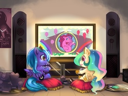 Size: 1200x900 | Tagged: alicorn, artist:bakki, balloon, cewestia, controller, cute, female, filly, foal, game, hoof hold, open mouth, pacifier, pillow, pinkie pie, pony, princess celestia, princess luna, safe, sitting, smiling, television, video game, wavy mouth, woona, younger