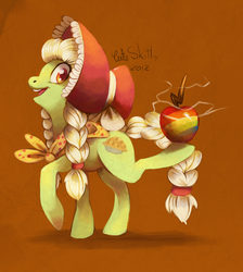 Size: 1047x1167 | Tagged: apple, artist:cuteskitty, balancing, earth pony, female, granny smith, mare, pony, safe, solo, younger, young granny smith, zap apple