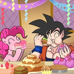 Size: 1000x1000 | Tagged: artist:madmax, cake, crossover, cupcake, dragon ball, earth pony, eating, eyes closed, female, food, goku, male, mare, pinkie pie, pony, safe