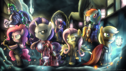 Size: 1920x1080 | Tagged: applejack, artist:fongsaunder, avengers, bipedal, black widow, captain america, clothes, costume, crossover, dragon, earth pony, female, fluttershy, hammer, hawkeye, iron man, male, mane seven, mane six, mare, mouth hold, my little avengers equestria's mightiest ponies, nick fury, night, parody, pegasus, pinkie pie, pony, ponyville, rainbow dash, rarity, safe, shield, s.h.i.e.l.d., spike, the incredible hulk, thor, twilight sparkle, unicorn, wallpaper, weapon