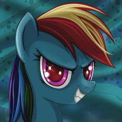 Size: 800x800 | Tagged: safe, artist:rainbow, rainbow dash, pegasus, pony, abstract background, adoracreepy, creepy, cute, dashabetes, evil grin, eyes, fangs, female, grin, happy, mare, pure unfiltered evil, smiling, smirk, solo