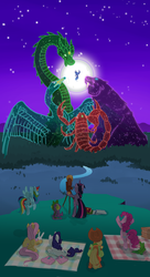 Size: 794x1456   Tagged: dead source, safe, artist:modern-warmare, angel bunny, applejack, fluttershy, gummy, pinkie pie, princess luna, rainbow dash, spike, twilight sparkle, alicorn, dragon, earth pony, pegasus, pony, scorpion, swan, unicorn, ursa major, constellation, cygnus, draco, female, giant scorpion, male, mane seven, mare, moon, night, picnic blanket, rear view, s1 luna, scorpio, scorpius, stars, telescope, unicorn twilight