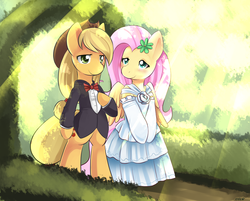 Size: 850x683 | Tagged: applejack, appleshy, artist:ende26, bipedal, blushing, clothes, crepuscular rays, dress, earth pony, female, fluttershy, lesbian, pegasus, pony, safe, shipping, suit, wedding, wedding dress