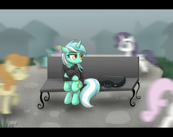 Size: 2263x1800 | Tagged: safe, artist:dawnmistpony, carrot top, cloud kicker, golden harvest, lyra heartstrings, rarity, spring melody, sprinkle medley, twinkleshine, earth pony, pegasus, pony, unicorn, fanfic:background pony, alienation, bench, blurry, case, clothes, crossed hooves, crowd, fanfic, female, hoodie, lonely, mare, motion blur, ponies wearing black, sad, sitting, solo focus