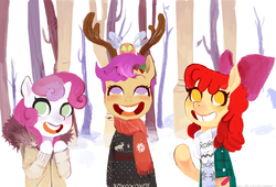 Size: 1280x869 | Tagged: antlers, apple bloom, artist:shemhamferosh, cutie mark crusaders, faic, female, forest, no pupils, parasprite, safe, scootaloo, semi-anthro, snow, sweetie belle, tree