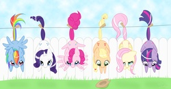 Size: 3088x1600 | Tagged: angry, applejack, artist:steffy-beff, clothes line, clothespin, cowboy hat, cross-popping veins, cute, earth pony, female, fence, flailing, floppy ears, fluttershy, hanging, hat, hoofy-kicks, laundry, line-up, looking at you, looking down, mane six, mare, pegasus, pinkie pie, pony, rainbow dash, rarity, safe, scared, smiling, spread wings, stetson, twilight sparkle, unicorn, waving, worried