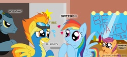 Size: 1523x685 | Tagged: safe, artist:gonzahermeg, rainbow dash, scootaloo, spitfire, oc, pegasus, pony, clothes, dressing room, earbuds, female, filly, goggles, male, mare, scootalove, stalker, stallion, uniform, waifu, wonderbolts uniform