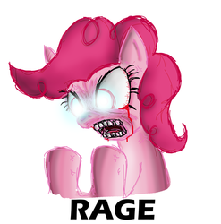 Size: 2251x2274 | Tagged: artist needed, safe, pinkie pie, earth pony, pony, bleeding eyes, bloodshot eyes, female, high res, mare, rage, simple background, solo, teeth, white background